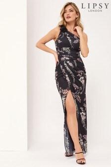 Lipsy One Shoulder Printed Maxi Dress
