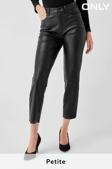 "Only High Waisted Faux Leather Trousers 30"" Leg"