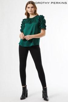 Dorothy Perkins Green 3D Satin Sleeve Blouse