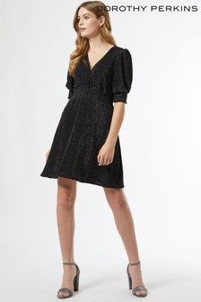 Dorothy Perkins Lurex Sheered Waist Fit and Flare Dress