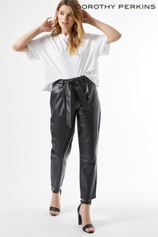 Dorothy Perkins PU Belted Trouser