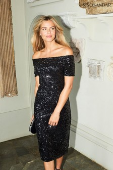 Sosandar Bardot Sequin Dress