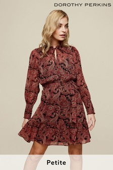 Dorothy Perkins Petites Paisley Lurex Shirred Shoulder Dress