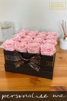 Personalised Year Lasting Real Roses 16 Piece Blossom Box by Eternal Blossom