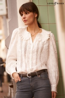 Love & Roses Broderie Collared Blouss