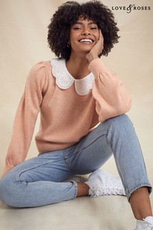 Love & Roses Broderie Collared Jumper