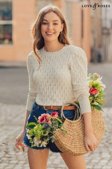 Love & Roses Pointelle Puff Sleeve Jumper