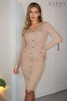 Lipsy Button Through Knitted Dress