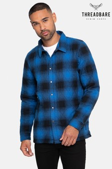 Threadbare Blue Check Quilted Overshirt