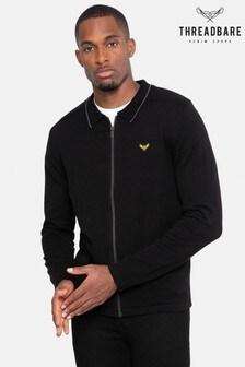 Threadbare Black  Zip Through Cotton Cardigan
