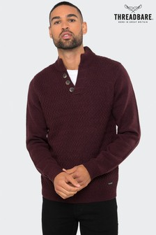 Threadbare Button Neck Jumper With Wool