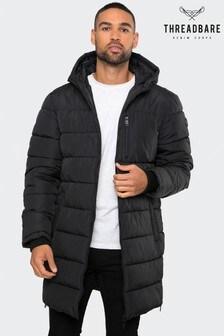 Threadbare Black Longline Padded Jacket