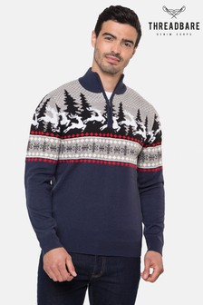 Threadbare Reindeer Run Zip Neck Festive Jumper