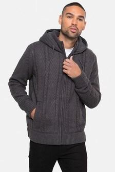 Threadbare Zip Through Hooded Cardigan