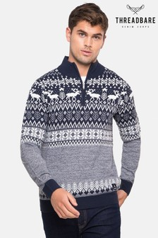 Threadbare Zip Neck Festive Jumper