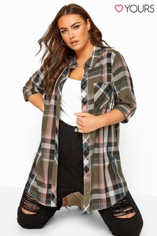 Yours Curve Metallic Check Boyfriend Shirt
