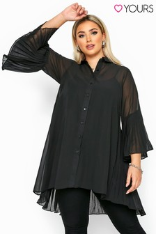 Yours Curve Pleated Longline Shirt