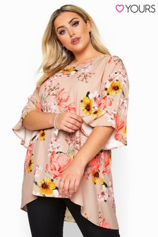 Yours Curve Stone Floral Flute Sleeve Tunic