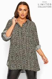 Yours Limited Collection Snake Print Boyfriend Shirt