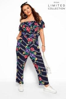 Yours Limited Curve Floral Chevron Print Bardot Crinkle Jumpsuit