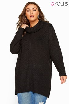 Yours Curve Turtle Neck Longline Knitted Jumper