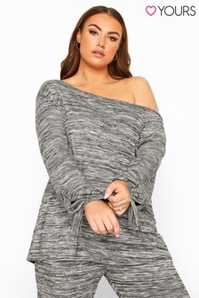 Yours Curve Marl Off The Shoulder Tie Sleeve Knitted Top