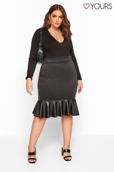 Yours Curve London Scuba Crepe Pu Frill Skirt