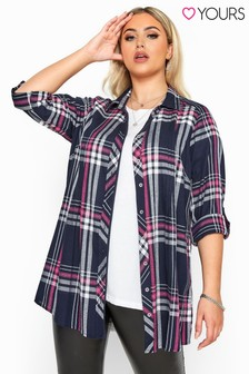 Yours Curve Check Metallic Pleat Shirt
