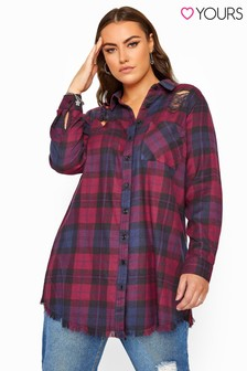 Yours Curve Distressed Check Shirt