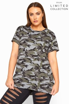 Yours Limited Collection Curve Jersey Camo Print T-Shirt