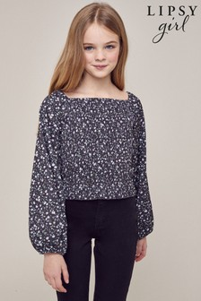 Lipsy Shirred Long Sleeve Jersey Top