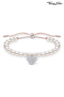 Thomas Sabo Freshwater Pearl Draw String Bracelet With Heart Charm