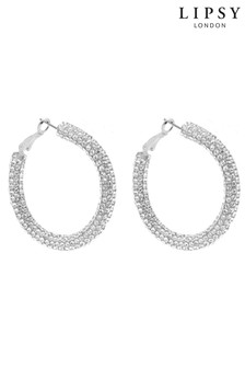 Lipsy Jewellery Crystal Pave Hoop Earring