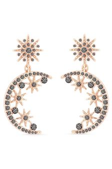 Lipsy Jewellery Plated Black Crystal Moon Cresent Drop Earring
