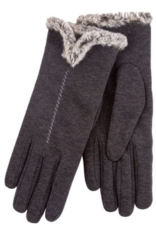 Totes Thermal Glove With Fur Cuff And Stitching