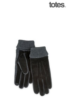 Totes Mens Suede & Knit Glove Smart Touch