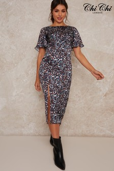 Chi Chi London Tiana Animal Print Dress
