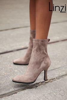 Linzi Square Toe Heeled Sock Boot