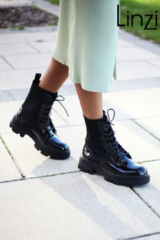Linzi Faux Leather Sock Mix Military Boot