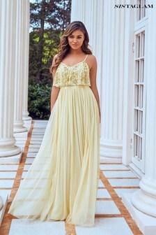 Sistaglam Cami Beaded Top Tulle Maxi Dress