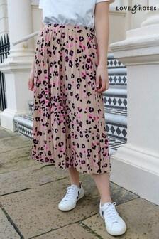 Love & Roses Printed Pleated Midi Skirt