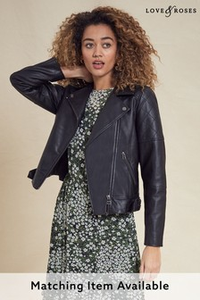 Love & Roses PU Biker Jacket