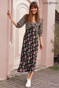 Love & Roses Sweetheart Neckline Printed Midi Dress