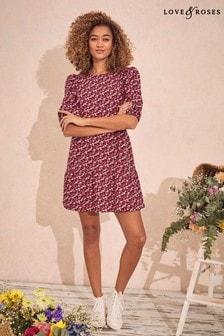 Love & Roses Printed Tiered Smock Dress
