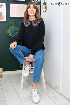 Love & Roses Contrast Collared Sweatshirt