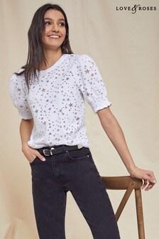 Love & Roses Shirred Cuff Jersey T-Shirt