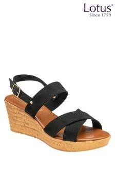 Lotus Footwear Cross Strap Wedge Sandal