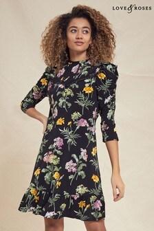 Love & Roses Floral Lace Trim Jersey Skater Dress