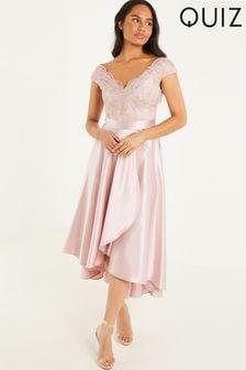 Quiz Lace Bardot Dip Hem Dress