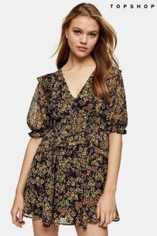 Topshop Shirred Waist Disty Mini Dress